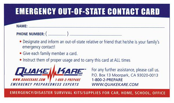 Out of State Contact Card
