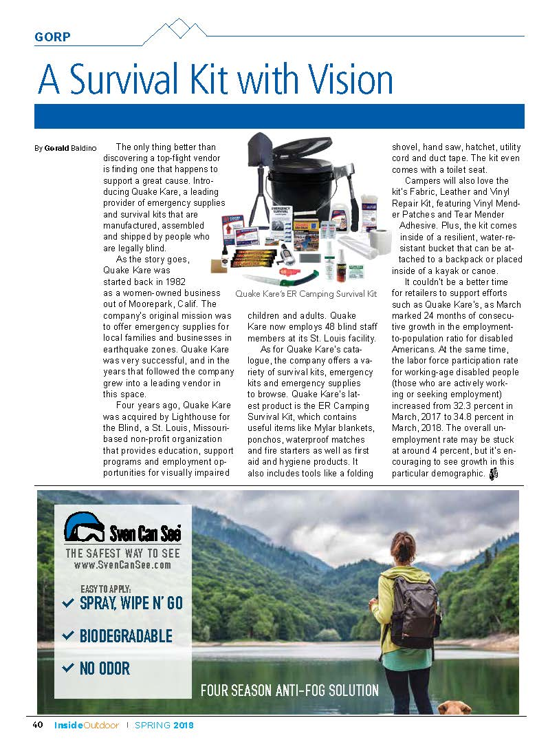 QK Camping Survival Kit Featured In Inside Outdoor Magazine