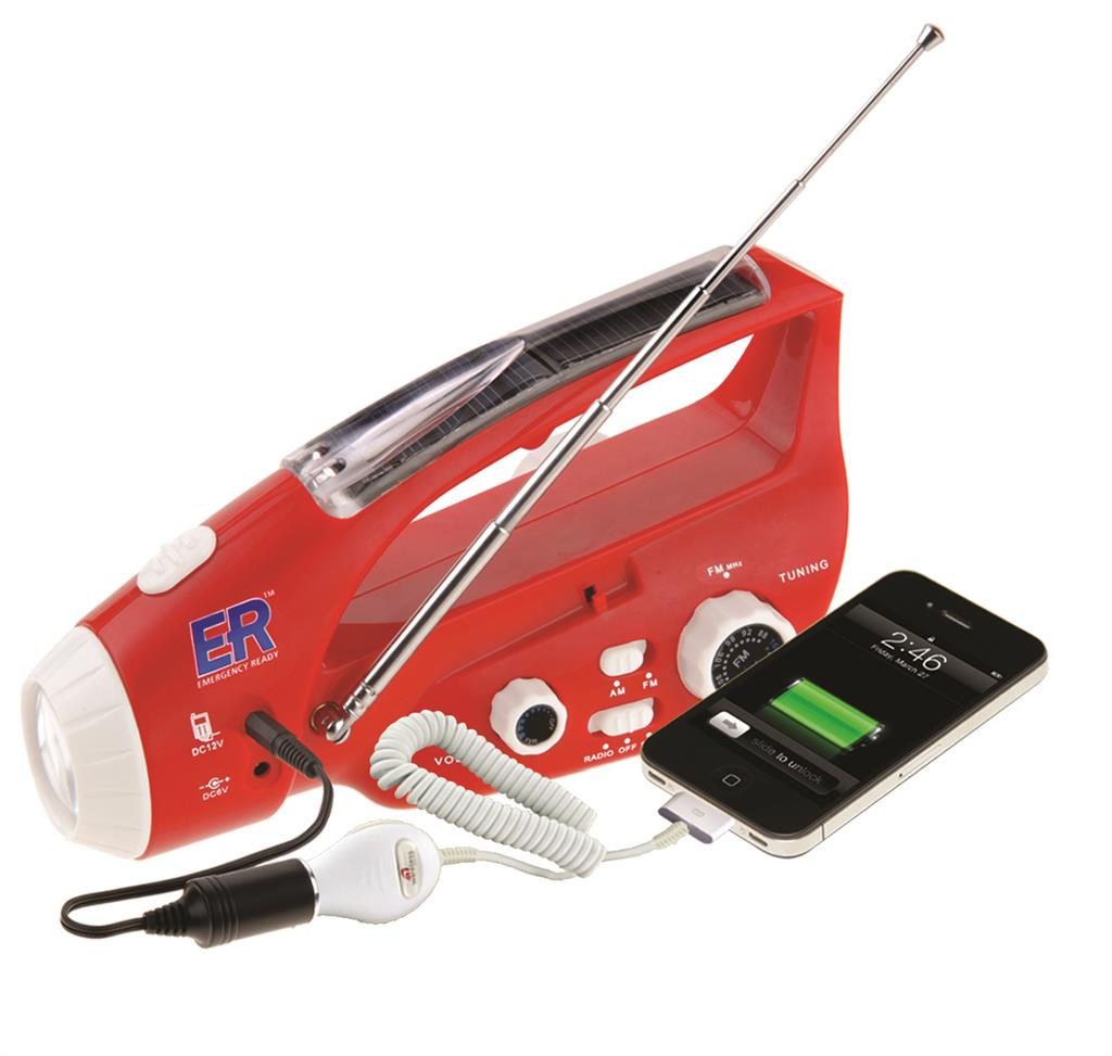 Solar/Hand-Crank Powered Radio And Flashlight