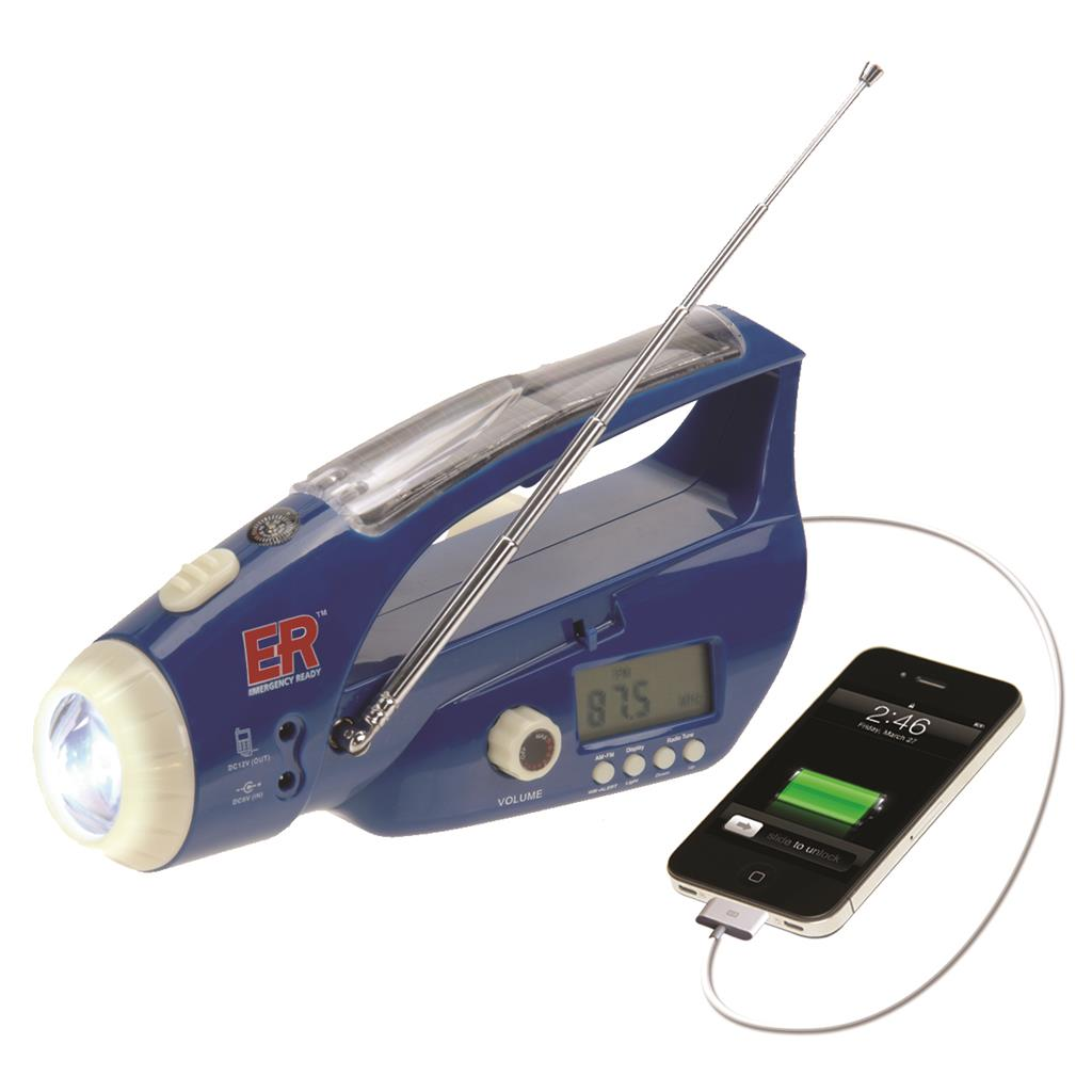 ER™ Solar/Hand-Crank Flashlight/Radio/USB Charger