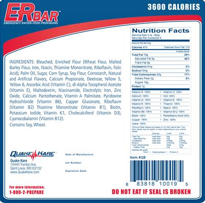 ER™ 3600 Calorie Emergency Food Bars - 4 Pack