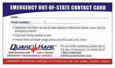 ER™ Out-of-State Contact Card